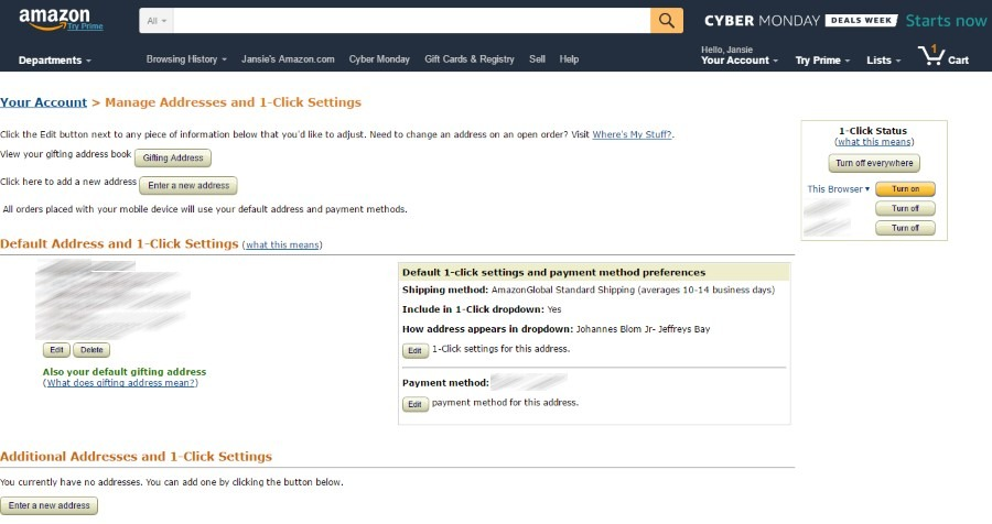 Your Amazon address page