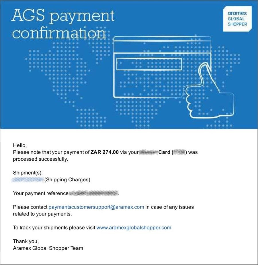 Aramex shipping payment confirmation email
