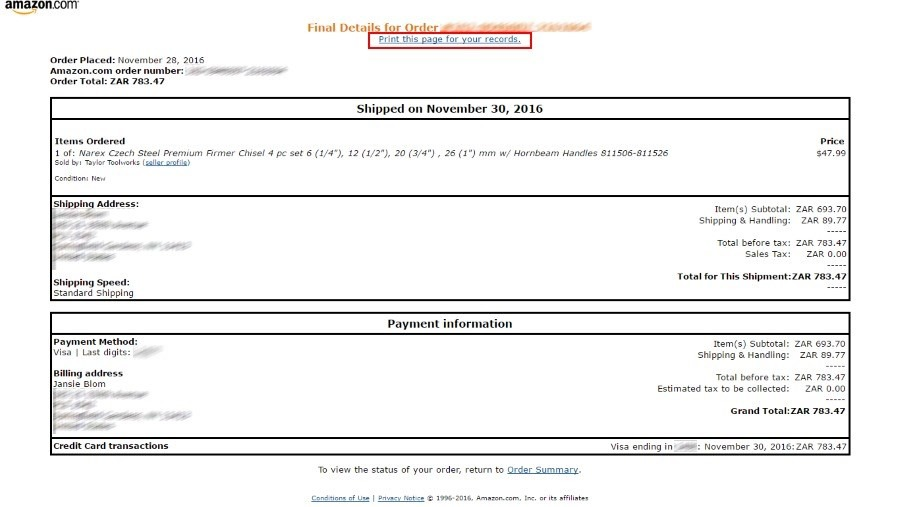 Your Amazon printable invoice. Click on the Print this page for your records link at the top.
