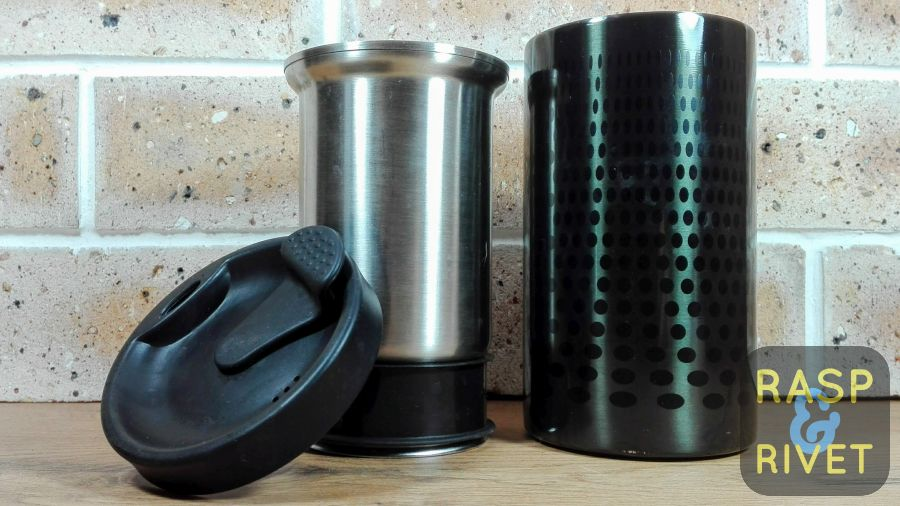 The Bobble Presse's rubber lid, plunger and tumbler