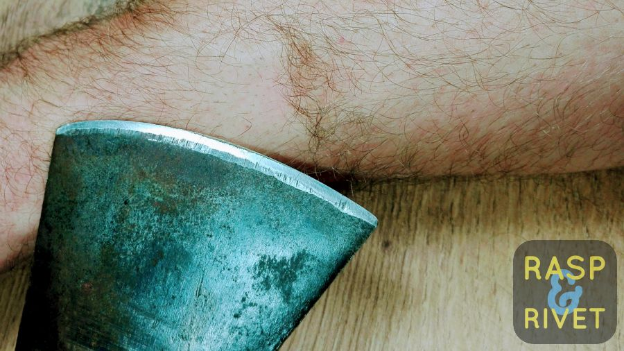 The traditional arm hair cutting test proves the Lansky did a fine job of sharpening this axe