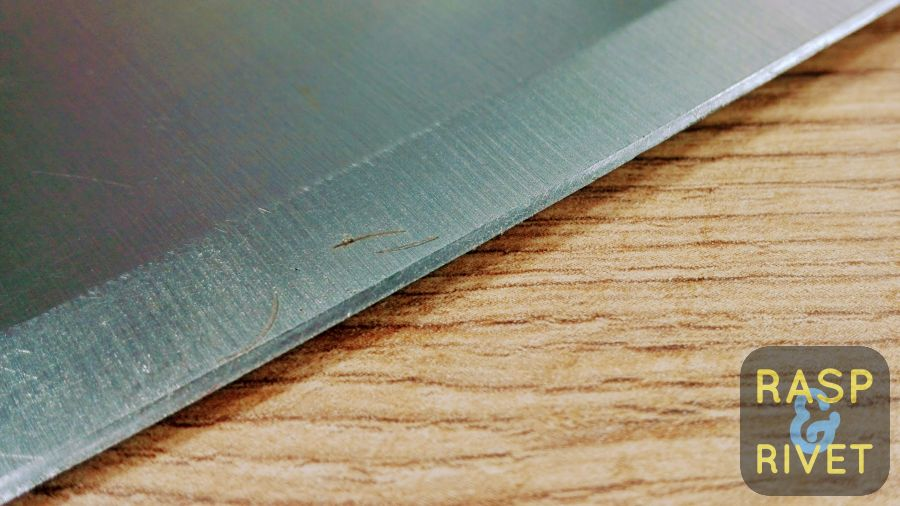 The meat cleaver's other edge after sharpening with the Lansky
