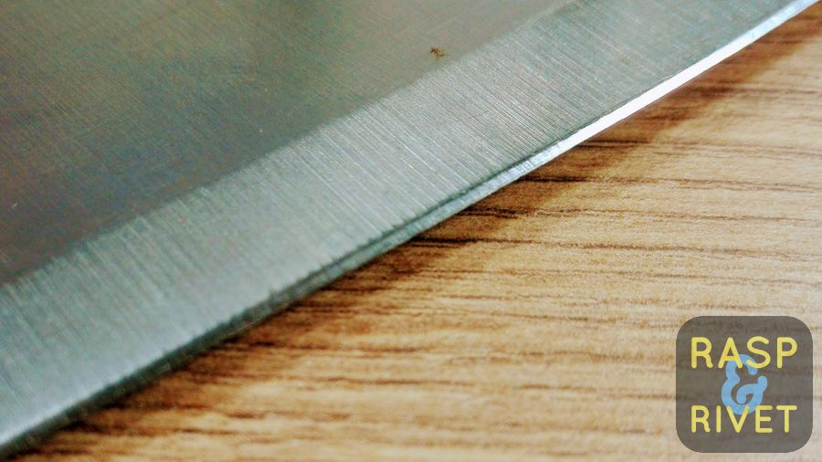 The meat cleaver's other edge before sharpening with the Lansky
