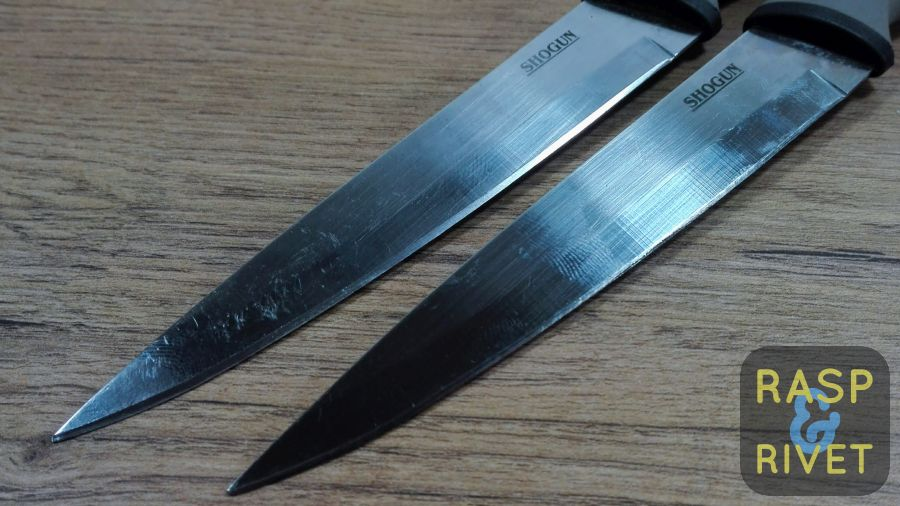 The steak knife on the left has been sharpened, the one on the right, not yet