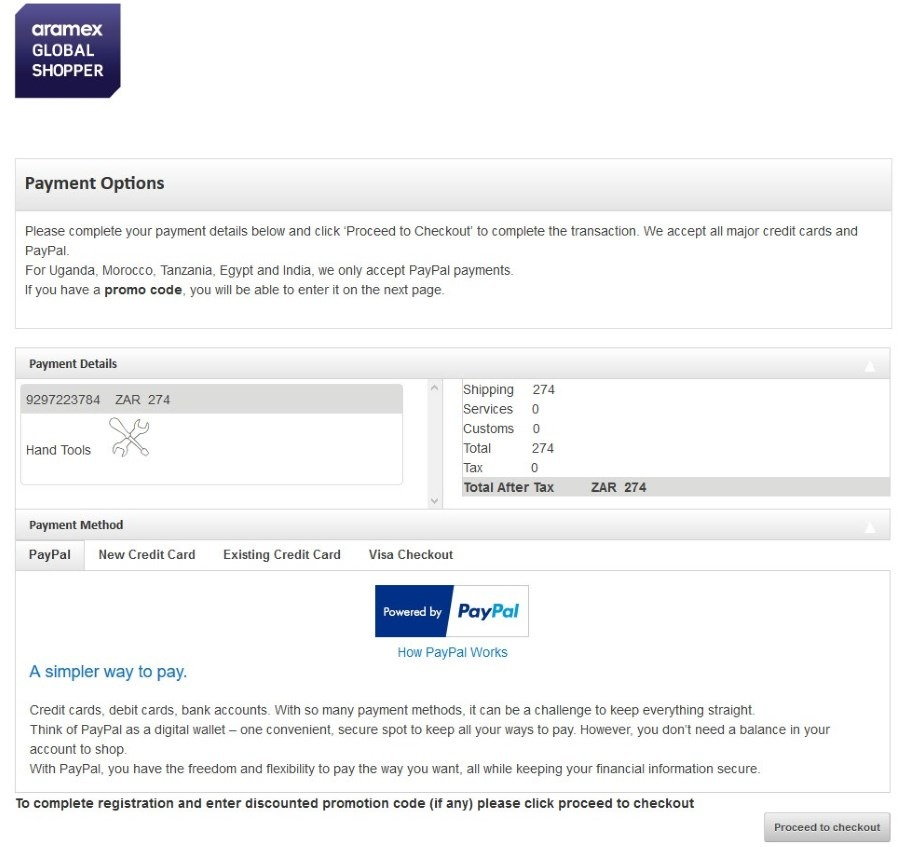 Choose a payment method for the shipping amount. You can pay with PayPal, debit card, credit card or Visa Checkout