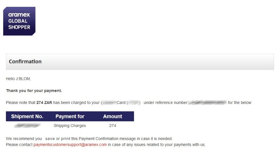 Your payment confirmation page on Aramex, if payment was successful