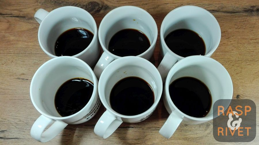 Pour six equal parts coffee from the jug