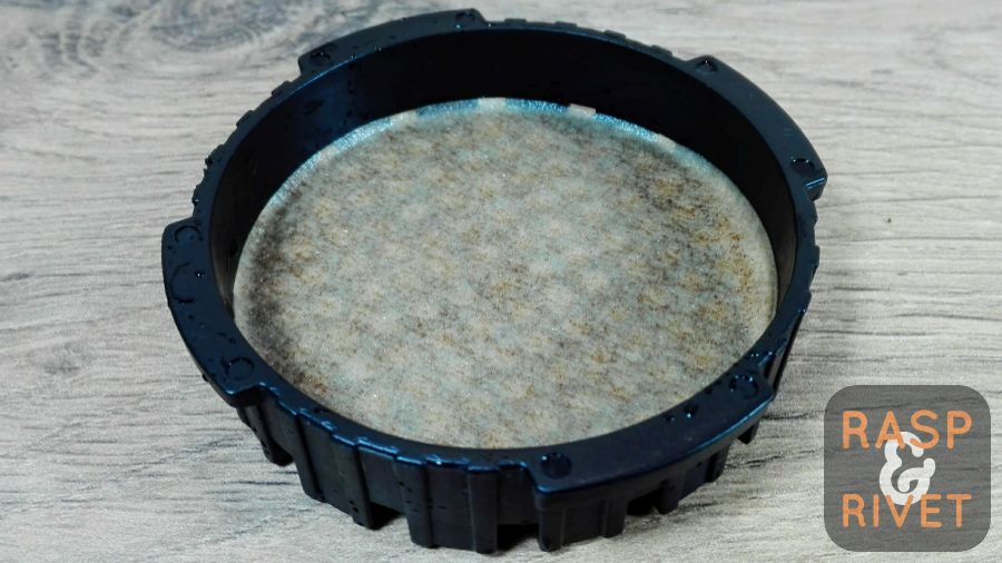 The filter, back in the filter cap after it was rinsed