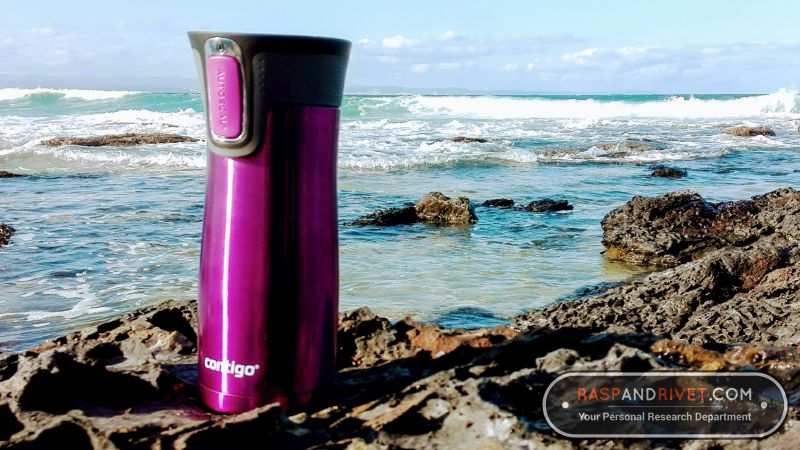 The Contigo AUTOSEAL West Loop travel mug posing on the rocks at Point, Jeffreys Bay