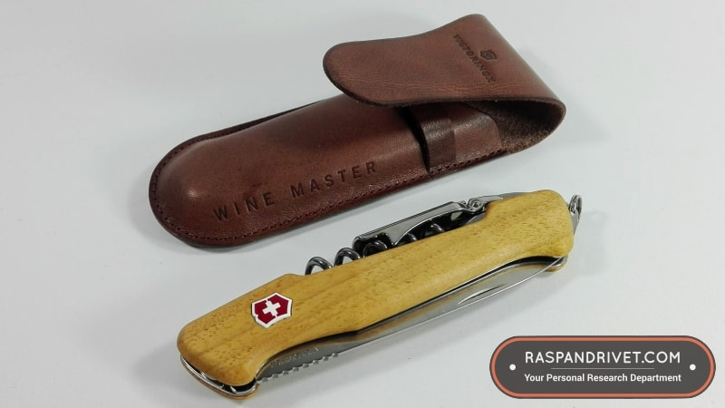 The Victorinox Wine Master alongside the beautiful leather pouch