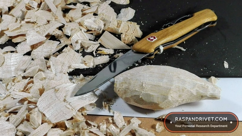 The Victorinox did a fine job of roughing the balsa lure