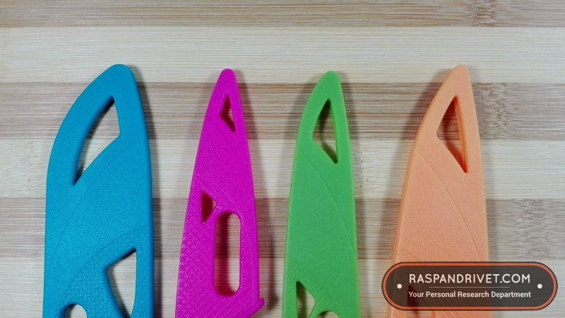 The four Zyliss knives we bought came with colourful sheaths