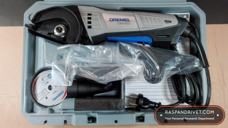 The Dremel DSM20 Saw Max carry case, open