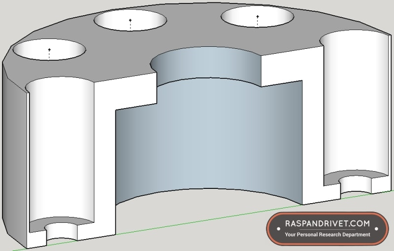 Sketchup screenshot of adaptor to use angle grinder hook and loop backing plate on Bosch ROS20VSC random orbit sander