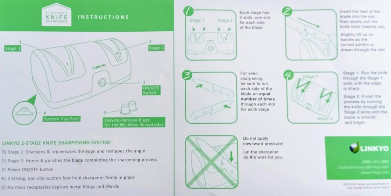The instructional pamphlet that came with the Linkyo knife sharpener